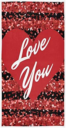Heart Love You Toallas de Mano con Purpurina roja Toalla de baño romántica Toalla de baño pequeña Absorbente Ultra Suave Plato de Cocina Toalla para Invitados Decoraciones para el día d70×140cm