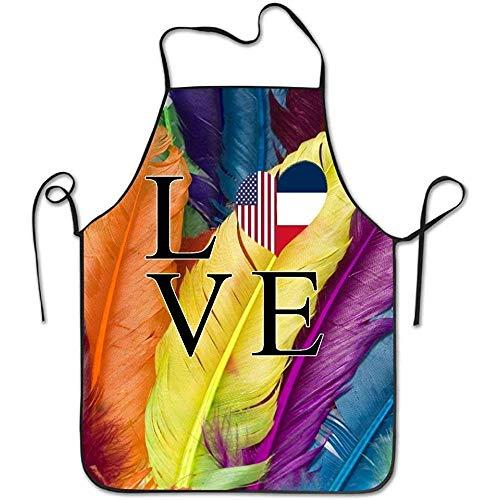 Mesllings Liefde Hart Franse Amerikaanse Vlag Vrouwen Mannen Grappige Chef Keuken Koken en Bakken Bib Schort Bakkerij Manicure Store met Verstelbare hals