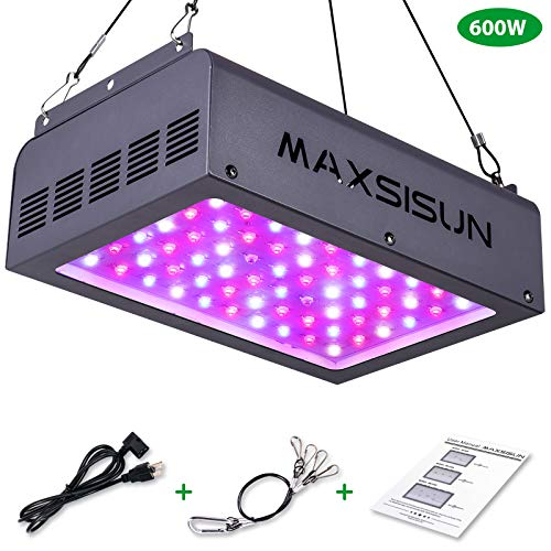 MAXSISUN 600W LED Grow Light, Full Spectrum LED Grow Lights for Indoor Plants Veg and Flowering, Hydroponic Growing System Plant Growing Lamps to Cover a 2x2ft Flower Area (60pcs 10W LEDs)