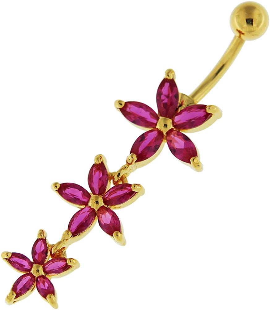 3 Micron 18K Gold Plated Red 925 CZ Triple Flower Stone Dangling security Bargain sale