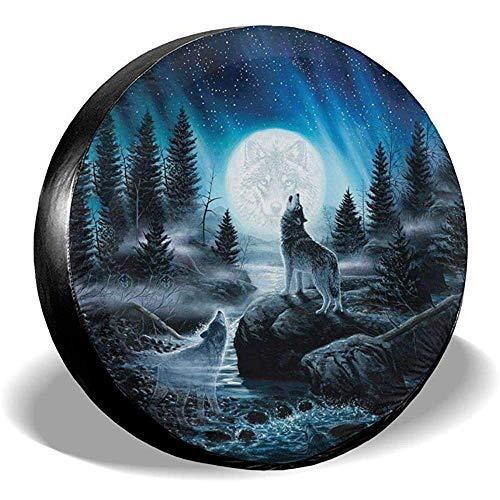 Hiram Cotton Reserveradabdeckung Wolf Moon Art Reserveradabdeckung wasserdichte Universal Reserveradabdeckung Fit Für Jeep Trailer Rv SUV Und Viele Fahrzeug 14-17 Zoll