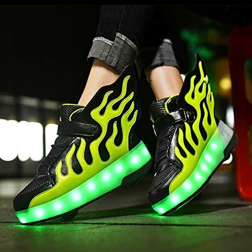 WOFEI Zapatillas con Ruedas,Niños Niñas LED Luces Luminosas Flash Zapatos De Skate Gimnasia Al Aire Libre Patines Zapatos De Roller con USB Carga,40