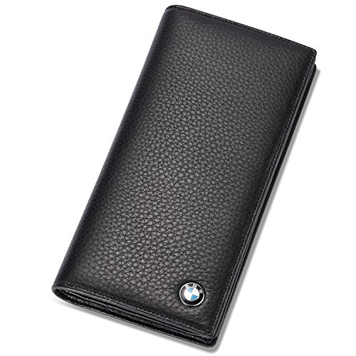 BMW Bifold Long Wallet with 11 Credit Card Slots and ID Window - Genuine Leather