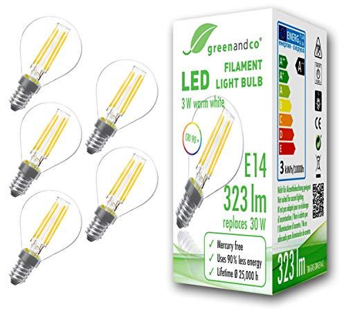 5x greenandco® CRI90+ Glühfaden LED Lampe ersetzt 30 Watt E14 G45 Globe, 3W 323 Lumen 2700K warmweiß Filament Fadenlampe 360° 230V AC nur Glas, nicht dimmbar, flimmerfrei, 2 Jahre Garantie
