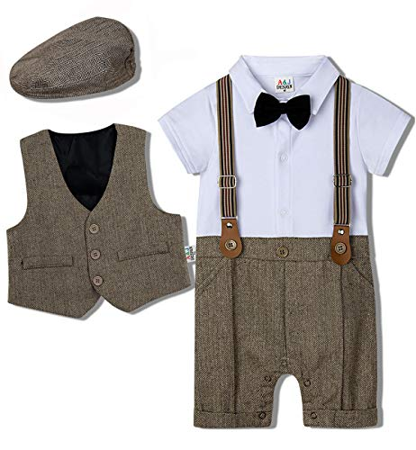 mintgreen Abito da Neonato Formale Vestito con Cappello retrò, Cachi, 3-6 Mesi (Dimensioni Produttore: 60)
