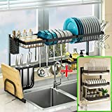 """Pusdon Adjustable Over Sink(24""""-40"""") Dish Drying Rack Black and 3 Tier Stainless Steel Hanging Dish Drainer"""
