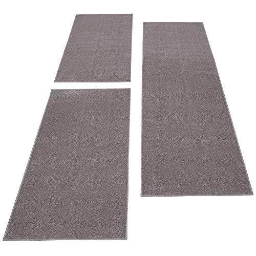 HomebyHome Bettumrandung Teppich Einfarbig Kurzflor Günstige Schlafzim. Läufer Set Beige, Farbe:Beige, Bettset:2 mal 60x100 + 1 mal 80x150