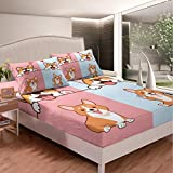 Kids Cartoon Dog Fitted Bottom Sheet Twin Size Smiling Doggy Corgi Faily Pet Bed Sheet 2 Pieces Fits MattressPink Blue Bottom Soft Microfiber Sheets Breathable Bedding Kids Teens
