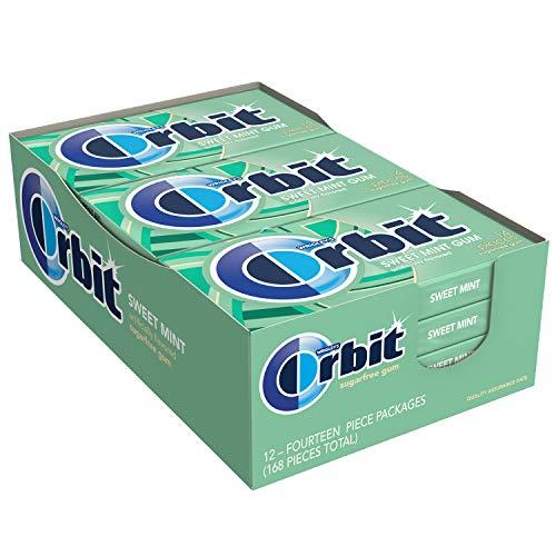 ORBIT Sweet Mint Sugar Free Chewing Gum, 14 pieces, (12 Pack)