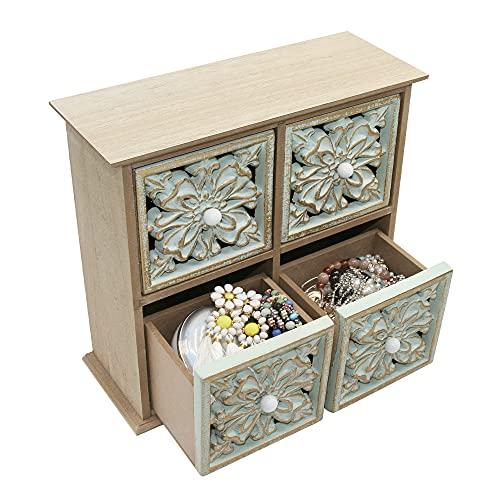 FTLhome Holzkiste Vintage Deko Schubladenbox Holz Holzbox Schubladen Ordnungssystem Mini Kommode Klein Schmuckkästchen