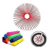 72Pcs Universal Spoke Skins Covers,Wheel Spoke Wraps Skins Pipe Trim Decoration Protector For Motorcycle Dirt Bike Yamaha Honda BMW Suzuki Kawasaki(red)
