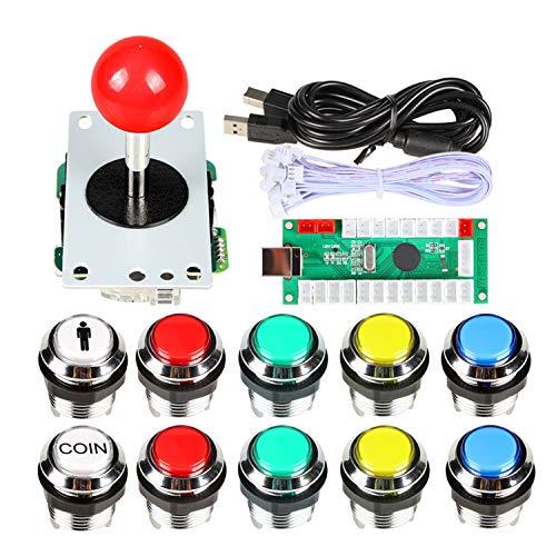 EG STARTS Classique Arcade DIY Kits USB Encoder Pour PC Joystick + 8 façons Stick + Chrome Plaqué LED Illuminé Bouton Poussoir 1 Joueur et Coin Boutons Pour Arcade Mame Raspberry Pi 2 3 3B Jeux