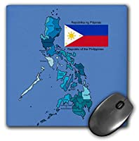 3dRose Mouse Pad Flag and Map of The Republic of The Philippines with All Regions Colored and Labeled - 8 by 8-Inches (mp_114186_1) [並行輸入品]
