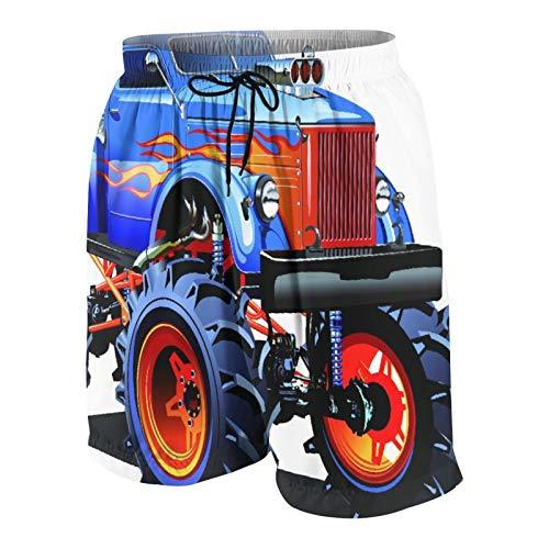 Costumi da bagno da uomo personalizzati,Monster Truck dei cartoni animati pneumatici enormi Off Road...