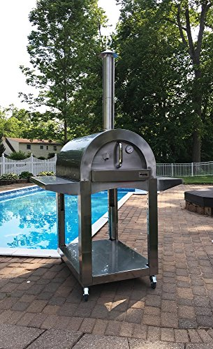 ilFornino Professional Plus Wood Fired Pizza Oven – One Flat Cooking Area, Adjustable Height-High Grade Stainless Steel, New York