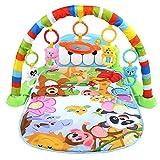 Tapis de Jeux avec Arches pour Bébé, 3 en 1 Tapis d'Éveil avec 5 Jouets Suspendus Coussin Multifonctionnel Amusant pour Bébé 0-18 Mois