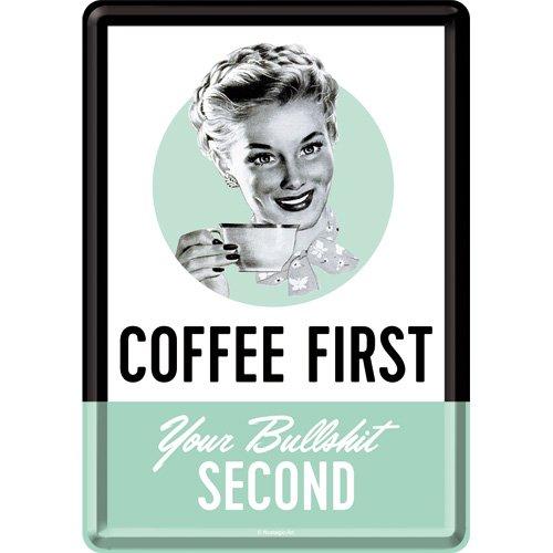 Nostalgic-Art Retro Grußkarte Coffee First, Geschenk-Idee für Kaffee-Fans, Blechpostkarte, Mini-Blechschild im Vintage-Design, 10 x 14 cm