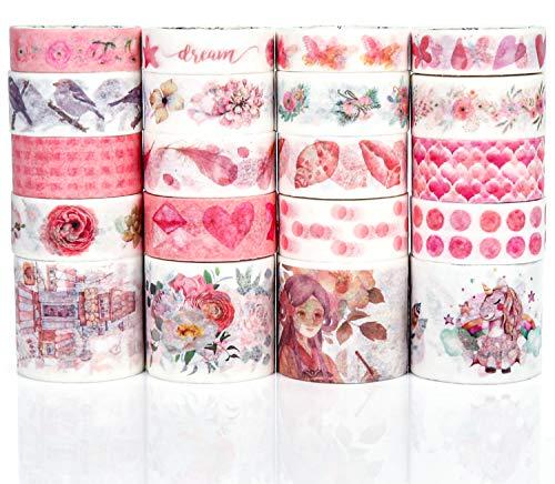 PuTwo Washi Tape, 20 Rollen Washitape, 10mm/15mm/30mm Washi Tape Set, Klebeband Bunt, Washitape, Washi Tape, Japanisches Washi Tape, Washi Tape für Tagebuch, Dekoratives Tape für Kunsthandwerk