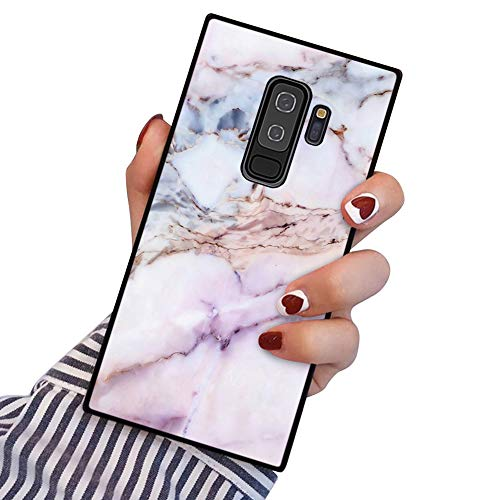 PERRKLD Samsung Galaxy S9 Plus Square Edge Case Heavy Duty Protection Shock Absorption Slim Soft TPU Cover Pink Marble Pattern for Samsung Galaxy S9 Plus