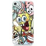 for iPhone 6/7/8/SE/7 Plus/8 Plus Flexible Case Cover Premium 9H Glass Screen Protector - Cute Cartoon Character Spongebob Friends