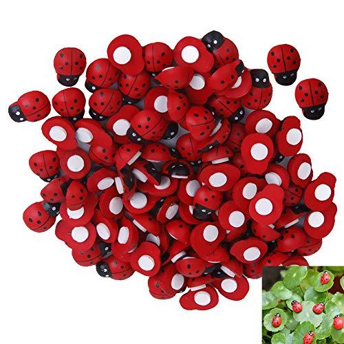 Beito 100 STÜCKE Mini HöLzerner MarienkäFer-Aufkleber Miniatur Gemaltes HöLzernes MarienkäFer-Garten-Dekor HöLzerner MarienkäFer FüR Handwerk Scrapbooking DIY Inneneinrichtungen
