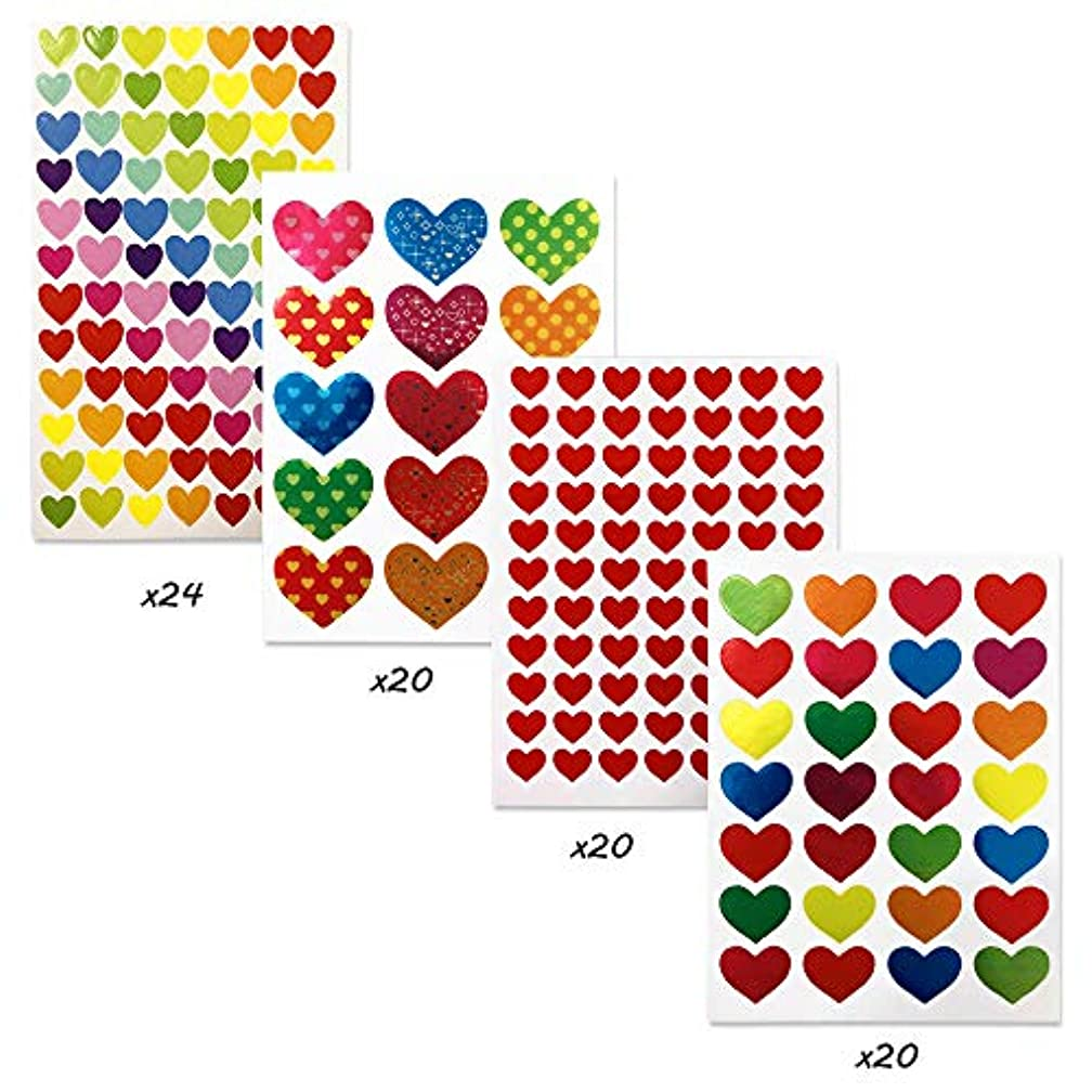 84 Sheets Heart Stickers,YuCool Heart Labels in 4 type for Kids Reward,Valentine's Day,Letter,Notebook,DIY Decoration-4416 Pieces