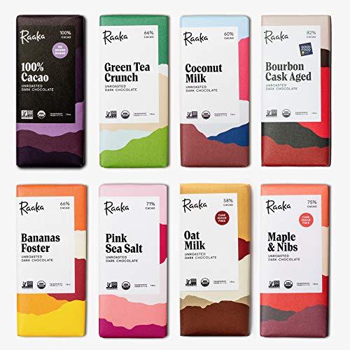 RAAKA オーガニック ローチョコレート 8種類食べ比べセット「カカオ100%、バーボンキャス82%、オーツミルク58%、メープル&カカオニブ75%、ピンクシーソルト71%、バナナフォスター68%、抹茶入り玄米クランチ67%、ココナッツミルク60%」