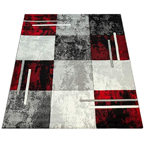 Amazon Brand - Umi Alfombra Salon Comedor Pasillo Cocina Pelo Corto 3D Cuadradas Diseño De Geometrica Triangulos Rombos Abstracto, Color:Gris-Rojo, Tamaño:160x230 cm