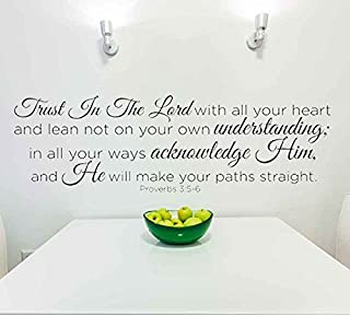 Trust in the Lord With All Your Heart..Proverbs 3:5-6 Vinyl Lettering Wall Decal Sticker (29in widex 10in tall, Black)
