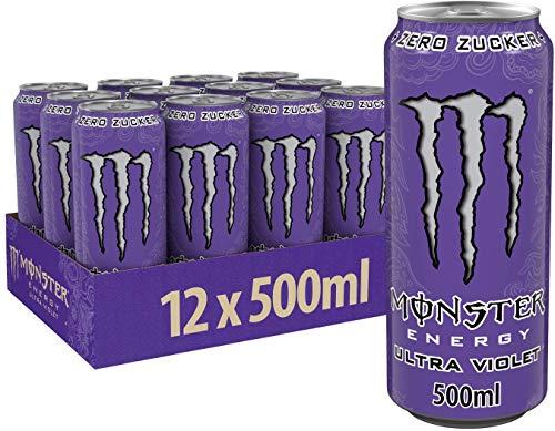 Monster Energy Ultra Violet / Klar, erfrischend und herbsüß / Zero Zucker & wenig Kalorien / Energy Palette / 12 x 500 ml Dose
