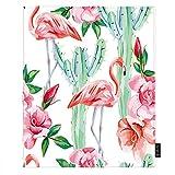 EKOBLA Cactus Throw Blanket Pink Flamingo Cacti Roses Cool Tropical Floral Flower Desert Blossom...