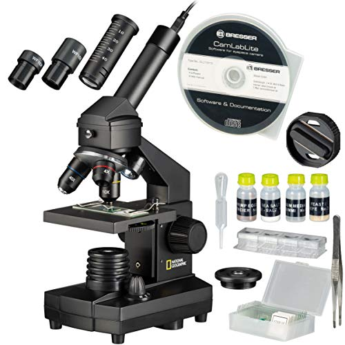 National Geographic 9039100 40x1024 Mikroskop-Set für Kinder und Erwachsene mit Licht-/Lichtdurchlässigkeitsfunktion und USB-Kamera Sowie Umfangreichem Zubehör Inklusive Praktischem Transportkoffer