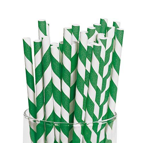 Fun Express Green Striped Paper Straws (24 Pack)