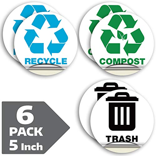 Recycle Sticker for Trash Can Bins, Sign Decal - 6 Pack 5 in – Premium Self-Adhesive Vinyl, Laminated for Weatherproof, UV Resistant, Encourage Recycling, Indoor and Outdoor.