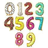 Globo Número Gigante en Metalizado Ideal para Fiesta de cumpleaños y Aniversarios - 100 cm - Hinchable (Donut, Número 9)