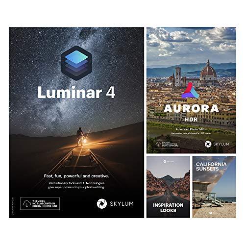 Creative Photo Editing Bundle: Luminar 4 AI Software + Aurora HDR + 1-click Looks + California Sunsets|Download for Mac and Windows