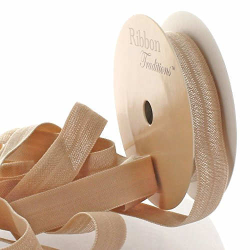 "3/8"" Fold Over Elastic Tan 25 Yard"