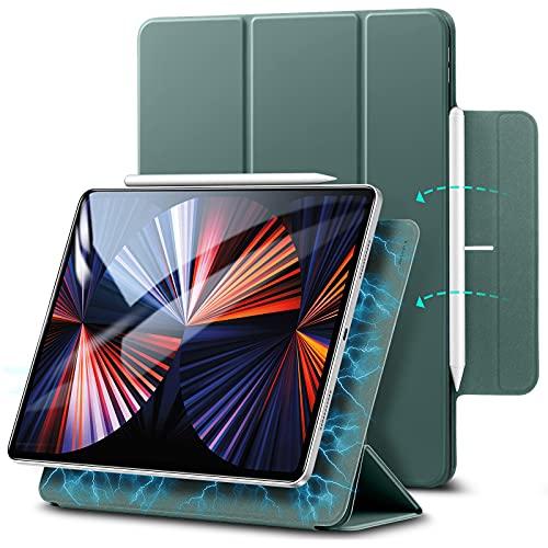 """ESR Hülle kompatibel mit iPad Pro 12.9"""" 2020, praktischer Magnetverschluss [Unterstützt Apple Pencil Koppeln und Laden] Trifold Standhülle, Smart Hülle, Auto Schlaf-/Weckfunktion - Waldgrün"""