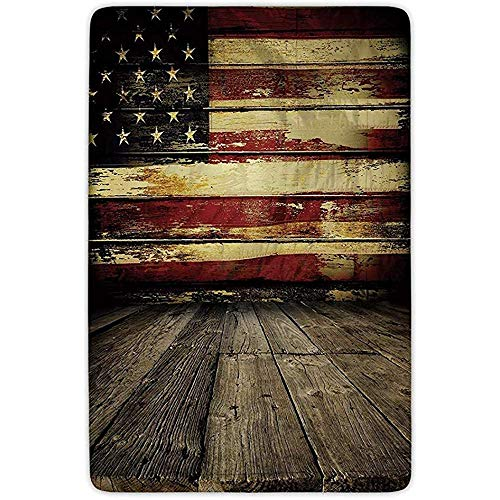 FANCYDAY Badkamer Tapijt Mat, Verenigde Staten, Vintage Amerikaanse Vlag op Houten Planken Wandachtergrond Grunge Print,Umber Cream Rood Blauw, Flanel Microvezel