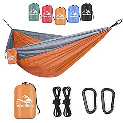 Favorland Camping Hammock for Hiking, Backpacking, Travel, Beach, Yard - Lightweight & Portable with Straps & Steel Carabiners Nylon (Orange-Grey)
