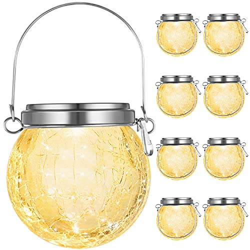 8-Pack Hanging Solar Lights Outdoor, Decorative Cracked Glass Ball Lights Solar Powered, Waterproof LED Globe Lantern with Handle for Tree, Garden, Yard, Patio, Umbrella, Holiday Decor (Warm White)