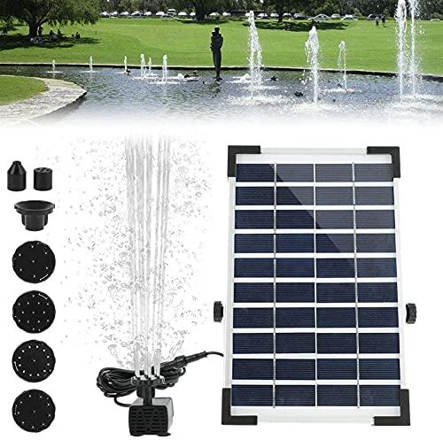 Kettles Fuente de Agua Solar de 5W, Bomba de Fuente Flotante Solar batería incorporada con 4 boquillas para bañera de pájaro Piscina Piscina Tanque de Pescado Jardín Carrito de Agua