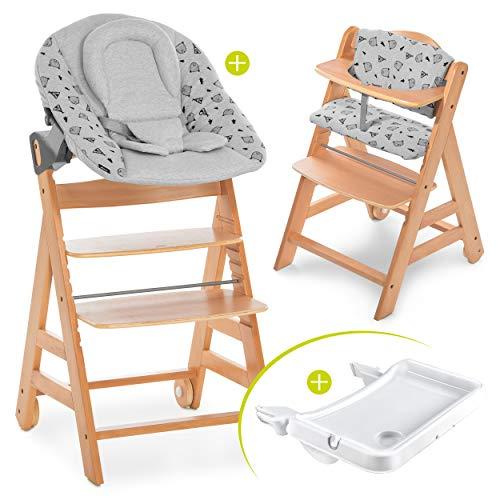 Hauck Baby Hochstuhl Alpha XL Set ab Geburt - mit Neugeborenenaufsatz, Essbrett und Sitzauflage/Mitwachsender Holz Babystuhl mit Liegefunktion - Natur Grau