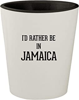 I'd Rather Be In JAMAICA - White Outer & Black Inner Ceramic 1.5oz Shot Glass