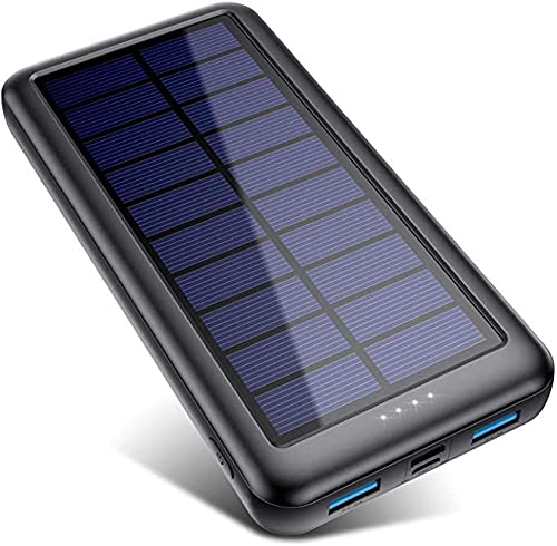 Solar Charger 33800mAh, Feob Portable Charger Power Bank Ultra-High Capacity Fast Phone Charger with Dual Inputs Micro USB & Type C, 2 USB Output External Battery Pack for Smartphones, Tablets etc.