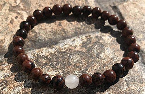 Dainty Sklave-Armband, 6 mm, dehnbar, rot-weißes Mahagoni-Obsidian & weißer Jade-Armband, rund, glatt, 17,8 cm, für Herren, Damen, GF, BF & Erwachsene