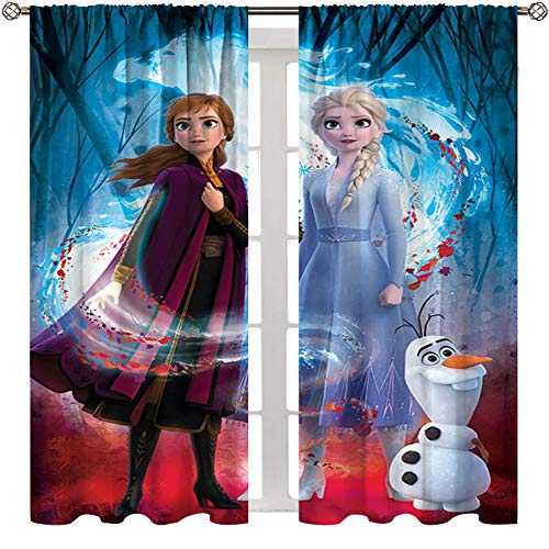 SSKJTC Paneles de cortina con aislamiento térmico para sala de estar películas congeladas Elsa Anna Olaf Cortinas decorativas para calidad de hotel W72xL84 pulgadas