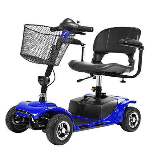 YOLL Scooter Elettrico per Disabili E Anziani di Piccole,Pieghevole Leggero Monopattino Elettrico 180w,4 Ruote,e Scooter Elettrico 6 Km/h,elektromobil a/Blue