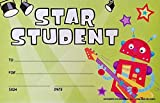 Pack Set of Star Student with Rockstar Robot - Personalize Classroom Recognition Reward System Certificate for Kid Child School Teacher Homeschool - Award Incentive Chart Decoration Kit