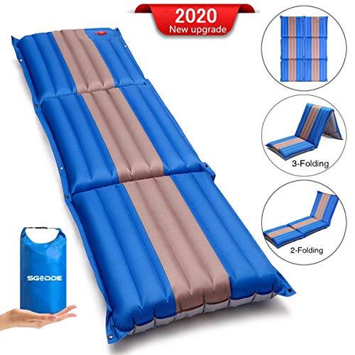 SGODDE Isomatte, 3-faltbar Handpresse Aufblasbare Matratzen, Erweiterbar 12 cm dick Camping Selbstaufblasbare Luftmatratze, Ultraleicht und Tragbare,Wasserdicht und Rutschfest Schlafmatte 198*70*12cm